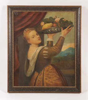 ANTIQUE OIL PAINTING OF WOMAN HOLDING FRUIT TRAY
