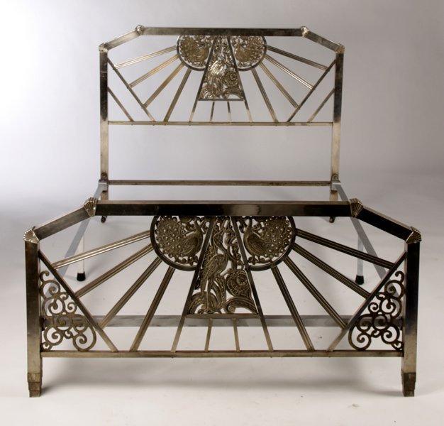 nickel over bronze art deco bed peacock crane lot 471. Black Bedroom Furniture Sets. Home Design Ideas