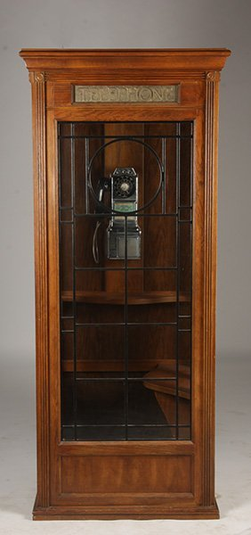Illuminated Oak Telephone Booth Vintage Phone Lot 442