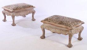 Pr Portuguese Mahogany Benches Faux Leopard