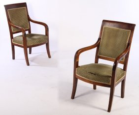 Pair French 19th C. Restoration Open Arm Chairs