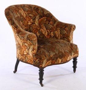 French Napoleon Iii Club Chair Velvet 1870