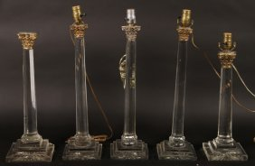 Five Glass Crystal Column Form Table Lamps