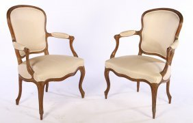Pair 19th Cent. French Louis Xv Carved Arm Chairs