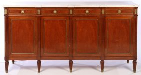 Directoire Style Sideboard Marble Top 4 Drawers