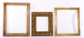 Lot Of 3 Gilt Wood Gesso Carved Decorated Frames