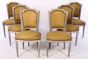 Set Of 6 French Carved Painted Dining Chairs 1950