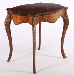 French Center Table Marquetry Inlaid C.1940
