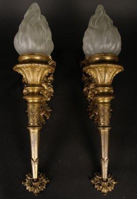 Pair Figural Bronze Single Arm Sconces C.1940