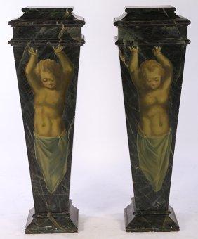 Pair Early 20th C. Pedestals Cherub Caryatid
