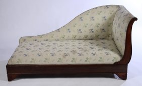 19th Cent. French Mahogany Chaise Lounge