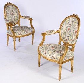 Pair French Gilt Wood Louis Xvi Armchairs C.1900