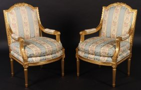 Pair Louis Xv Giltwood Carved Arm Chairs