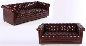 2 Leather Chesterfields Sofa Love Seat