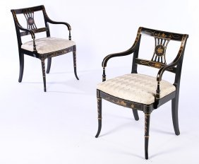 Pair Regency Style Painted Arm Chairs Upholstered