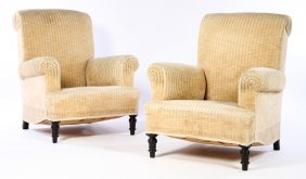 Pair 19th Cent. Napoleon Iii Library Chairs