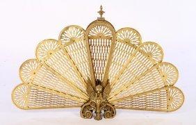 Bronze Brass Fan Form Fireplace Fender