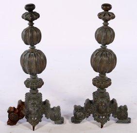 Pair 19th Continental Bronze Andirons Cherub Form