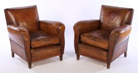 Pair French Leather Club Chairs 1940