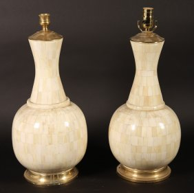 Pair Tessellated Bone Urn Form Table Lamps