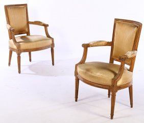 Pair 19th Cent. Louis Xvi Style Carved Arm Chairs
