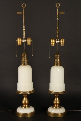 Matched Pair Of Brass & Milk Glass Lamps