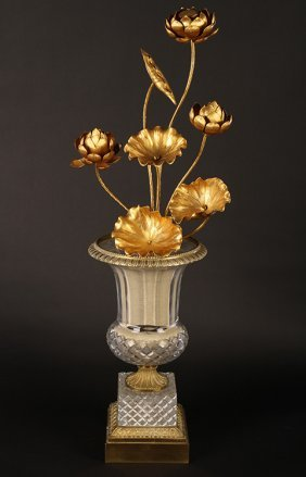 Cut Crystal Fluted Vase Gilt Bronze Embellishment