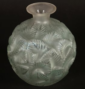 Lalique Ormeaux Glass Vase Signed Etched Script