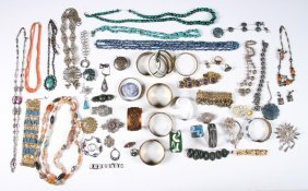 Jewelry Lot Sterling Turquoise Filagree C.1960