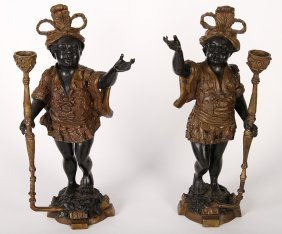 Pair Of Patinated Blackamoor Candle Holders
