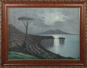 Carolo Ciappa Nocturnal Bay Of Naples Painting