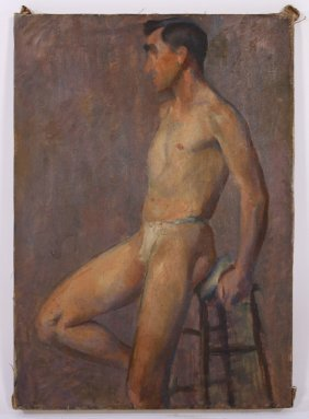 Charles Rudy Oil On Canvas Study Of A Nude Male