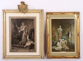 2 Large Napoleon Prints Colored Litho & Etching
