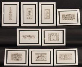 """Set Of 9 Etching Series """"palais De Fontainbleau"""""""