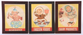 "3 Original ""campbell Kids"" Advertising Posters"