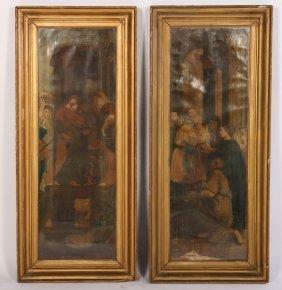 Pair Antique Hand Embellished Prints