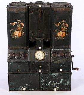 Late 19th Cent. Tole Spice Cabinet Dispenser