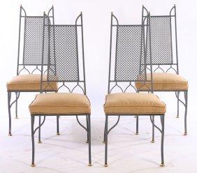 4 Stylish Wrought Iron Bronze Garden Chairs 1940
