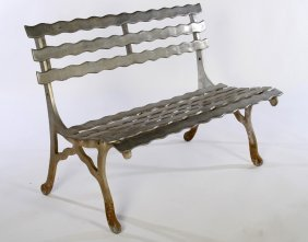 Modern Cast Metal Garden Bench Wavy Slat Back