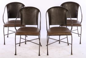 Set Of 4 Wrought Iron Garden Chairs Leather Seat