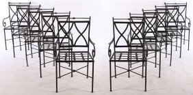 Set 10 Regency Wrought Iron Dining Chairs