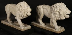Pair Late 19th Cent. Carved Marble Standing Lions