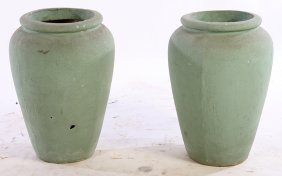 Pair Painted Cast Stone Garden Urn Vessels 1940