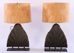 Pair Architectural Terracotta Table Lamps