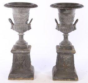 Pair Campana Form Cast Iron Garden Urns