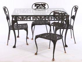 5 Pc Set Wrought Iron Cast Aluminum Furniture