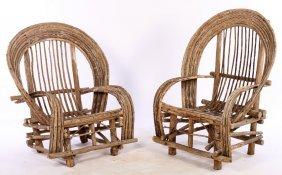 Large Pair Rustic Adirondack Arm Chairs