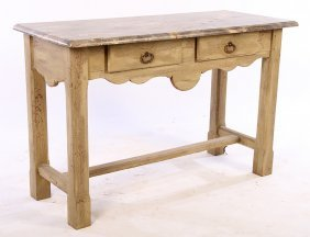 19th Cent. French Country Console Table 2 Drawers