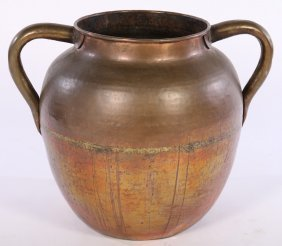 Large Copper Two Handled Garden Vessel