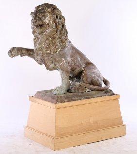 Large Cast Metal Seated Lion Plinth Base